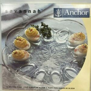 Anchor Hocking Savannah Deviled Egg 12 inch Glass Serving Plate
