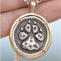 Men's Viking Necklace Brass Metal Wolf Nordic Pendant Norse Celtics PAW Pendant