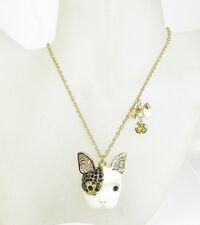 NEW Betsey Johnson Gold-Tone Pave and Enamel Dog Pendant Necklace