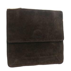 CHANEL CC Cross Body Shoulder Bag 5856911 Purse Brown Suede Vintage 33320