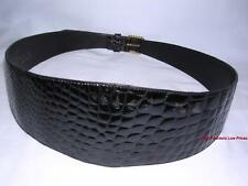 PIERRE CARDIN Wide Waist Cinch Corset Belt WOMEN sz M/L Black Alligator Leather
