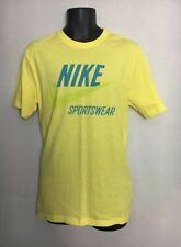 Nike Sportswear T-Shirt Spell Out Chest Print Yellow Cotton Medium VGC+