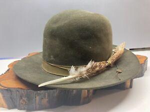 7 1/2 Vtg John Stetson 3X Beaver  Green Feathered Rancher Cowboy Hat Fedora #135