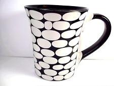 Ceramic coffee mug black with white ovals black interior & handle Gibson 12 oz