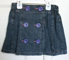 Pumpkin Patch Girls Denim Pleated Jean Skirt Adjustible Waist Size 6 VGUC