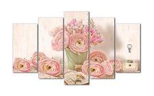 Quadro moderno su tela Shabby Chic su 5 pannelli vaso con rose   150 x 100 cm