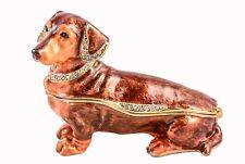 Dachshund Dog Trinket Box, Hand Made with Swarovski Crystals & Enamel