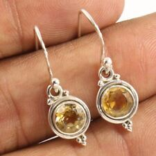 """1"""" Amazing CITRINE Round Faceted Earrings 925 Sterling Silver jewelry"""