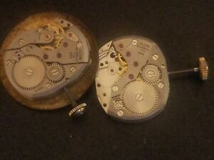 Elgin 732 and 711, wrist watch movements, Made in USA, 19 jewel, c. 1950's