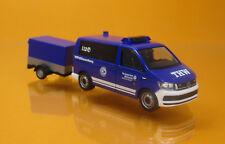 Herpa 093668 Volkswagen VW T6 Bus Pritschenanhänger THW Korbach Höhenrettung