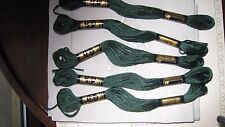 mercerie ancienne 5 échevettes coton à broder  mouliné vert 500 point de croix