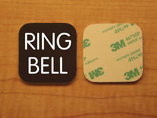 Engraved 2x2 Brown RING BELL Plastic Tag Sign Plate   Doorbell Plate Door Plaque