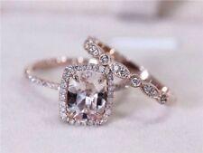 3.5Ct Cushion Cut Peach Morganite Bridal Wedding Ring Set 14k Rose Gold Finish