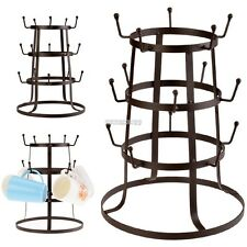 Glass Drying Rack Kitchen Cup Mug Holder Bottle Drainer Tree Metal Rustic Stand