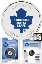 2008 Hockey Puck with Colorized Toronto Maple Leafs $1 NHL Hockey Coin (12198)