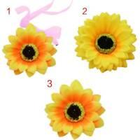 Adjustable Artificial Sunflower Hair Clips Multi Layers Petals Bracelet Headwear