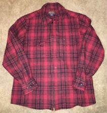 Woolrich Womens Wool Red/Black Full Zip Flannel Size M