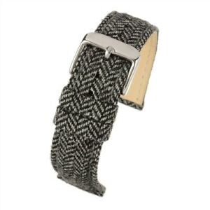 VintageTime Watch Straps - Woven Tweed Style Herringbone Fabric Leather Bands