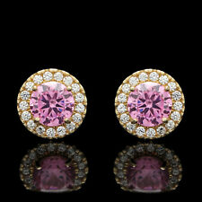 2CT Halo Created Pink Tourmaline Diamond Stud Round Earrings 14k Yellow Gold