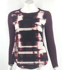 Apt 9 Top Size Small Petite Burgundy Red White Mixed Media Long Sleeve Shirt