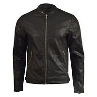 Mens Jacket Firetrap Faux Leather Bullard Bikers Coat