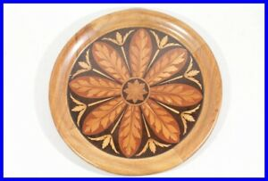 1880 wooden Plate w/ beautiful FLORAL intarsia / for desk or gambling table
