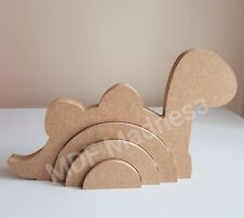 MDF CRAFT SHAPE. WOODEN 3D RAINBOW DINOSAUR. 18MM FREE STANDING