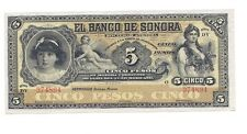 Mexican Revolution Banco de Sonora 5 Pesos Banknotes Peso Mexico Currency Money