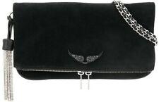 Zadig & Voltaire Rock clutch bag SUEDE BLACK NEW $438 *A