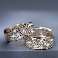 18k yellow gold made with SWAROVSKI crystal art pattern huggies fashion earrings