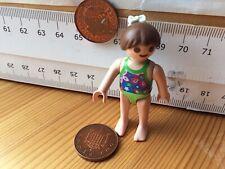 2223 Girl 30112150 brown ponytail, swimsuitClip -Playmobil Used figure