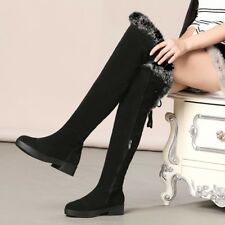 Women's Flat Over The Knee High Thigh Boots Furry Lace up Winter Comfort Shoes