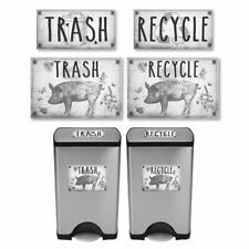 Vintage Farmhouse Styled | Country Pig | Trash and Recycle Label Stickers