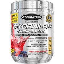 MuscleTech Pro Series Myobuild 4X Amino-BCAA Fruit Punch Blast, 11.71 oz