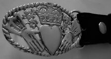 """Stunning  Solid Sterling Silver """"The Claddagh"""" Belt Buckle"""