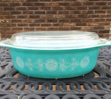 Pyrex Turquoise Milkglass Lace Medallion Oval 045 Covered Casserole