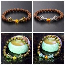 8mm Natural Stone Beaded Bracelets Wooden Stone Gold Silver Double Dragon Bangle