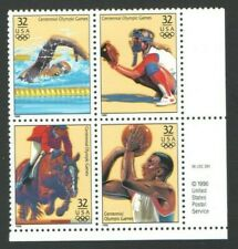 1996 ATLANTA Olympic US Postage Block 32 Cent Stamps Softball Basketball Equistr
