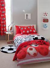 2 pièces football rouge Mélange de coton Housse Couette Simple & RIDEAUX
