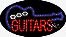 "Brand New ""Guitars"" 27x15 Oval Solid/Animated Led Sign w/Custom Options 24217"