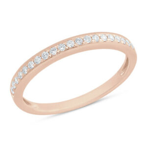 Womens 0.19 CT 14K Rose Gold 2.5 MM Round Diamond Ring Wedding Band Stackable