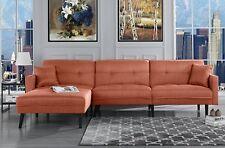 Mid Century Modern Style Linen Sofa Sleeper Futon Sofa, Living Room L Shape...