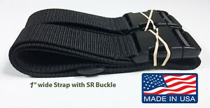 """Heavy weight 1"""" wide Lashing Strap with SR Buckle ~ Black ~ 2 straps Made in USA"""