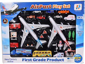 Kids Children Airport Playset Pretend Role Play Airplane Vehicles Birthday Gifts