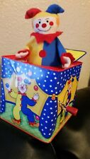 Schylling Jack In The Box pop up Clown/jester musical wind up 1997 vintage metal
