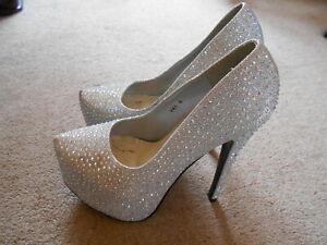 Koi Couture silver diamante concealed platform stiletto shoes size 6