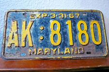 Single LICENSE PLATE-MARYLAND-EXP-3-31-67-AK :8180-Black Ground-Yellow Markings