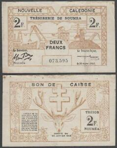 Noumea - New Caledonia - Bon De Caisse, 2 Franc, 1943, VF+++, P-56