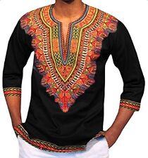 Men's African Dashiki Autumn Fashion Print Top Long Sleeve T Shirt X-Large Black