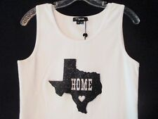 New Boutique Women's Texas Home Swarovski Crystals White Stretch Tank Top Med